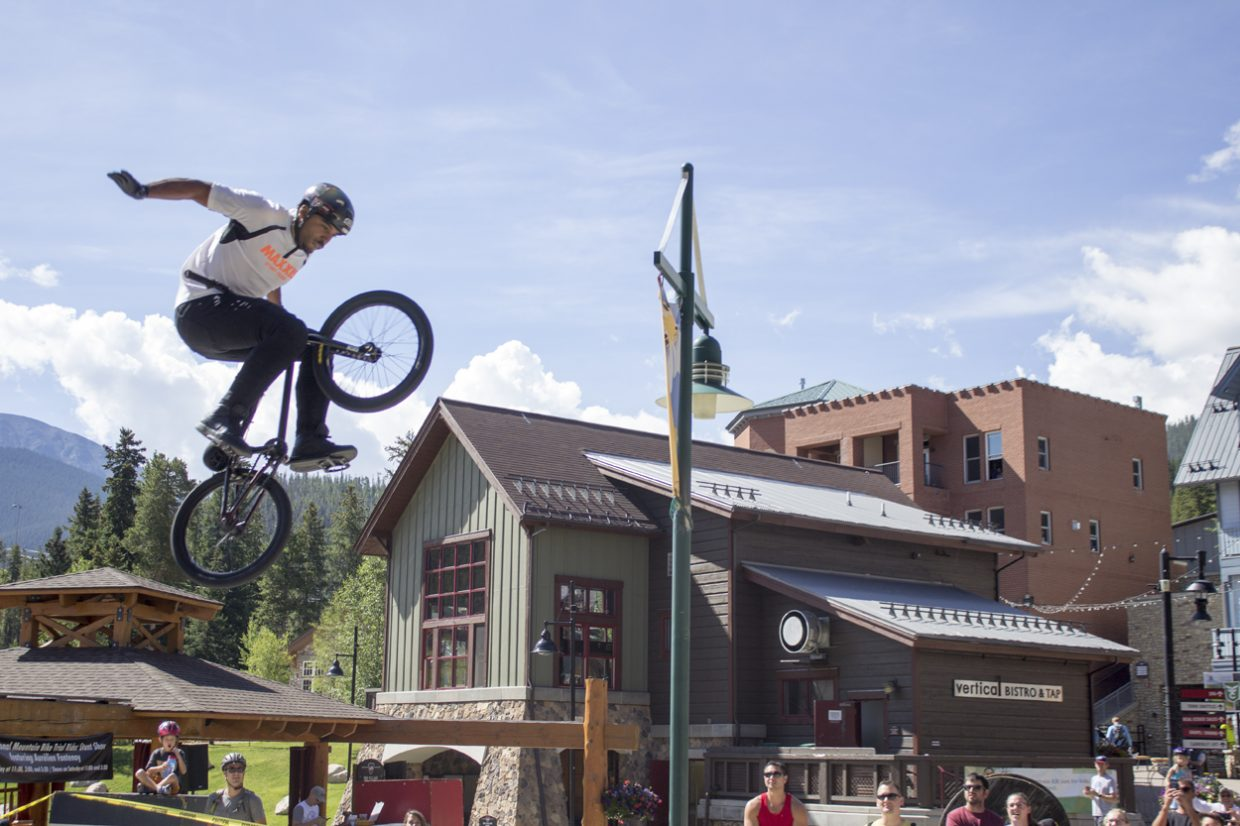 The Maxxis BMX Stunt team put on a show for guests in the Winter Park Village. Sawyer D'Argonne / Sky-Hi News.