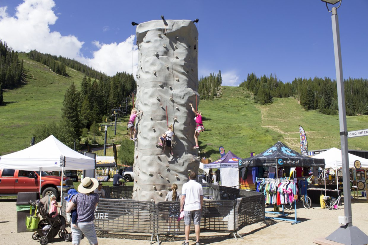 Activities abound at the Colorado Freeride Festival, including a rock wall and bungee trampolines. Sawyer D'Argonne / Sky-Hi News.