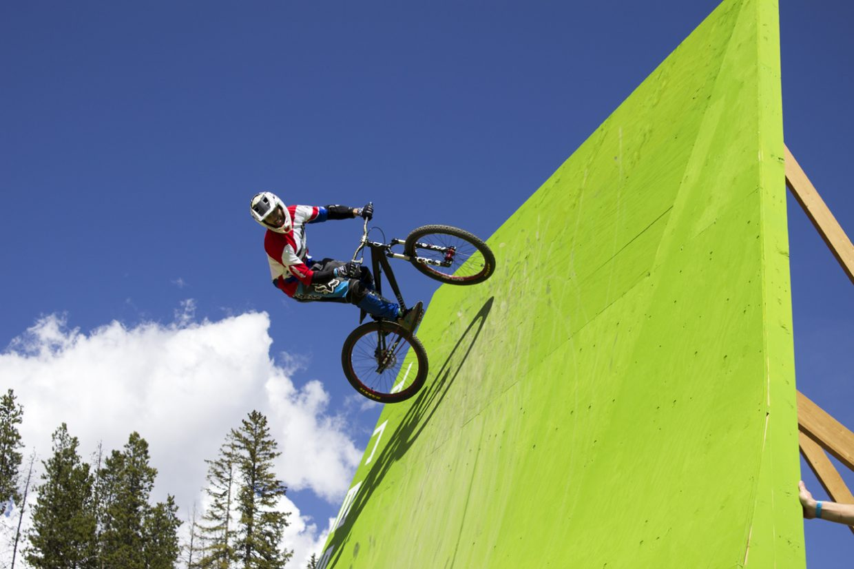 The course build for the Maxxis Slopestyle competition features a series of ramps and massive jumps. Sawyer D'Argonne / Sky-Hi News.