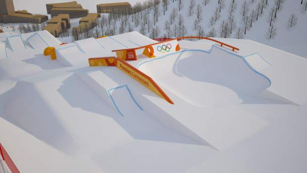Section three of the Olympic Slopestyle Course to be used in February's 2018 Pyeongchang Winter Olympic Games at Bokwang Phoenix Park Ski Resort.