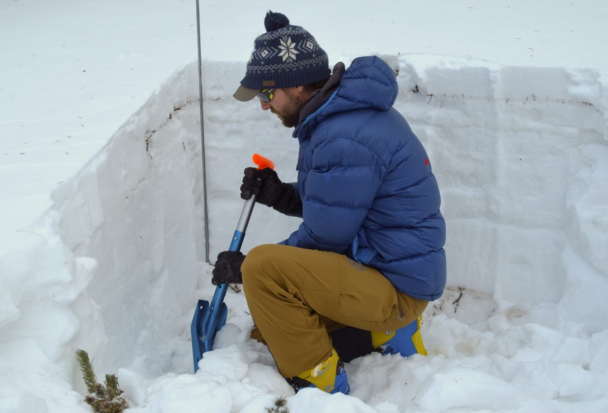 Ben Markhart, one of Colorado Mountain School's AIARE course instructors, explains the basics of digging a snow pit in order to conduct snow compression tests.