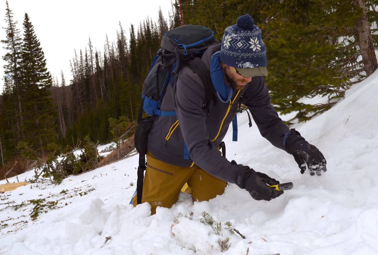 Mountain guide and AIARE course instructor Ben Markhart performs a hypothetical avalanche rescue on a snowy mountainside in Rocky Mountain National Park.
