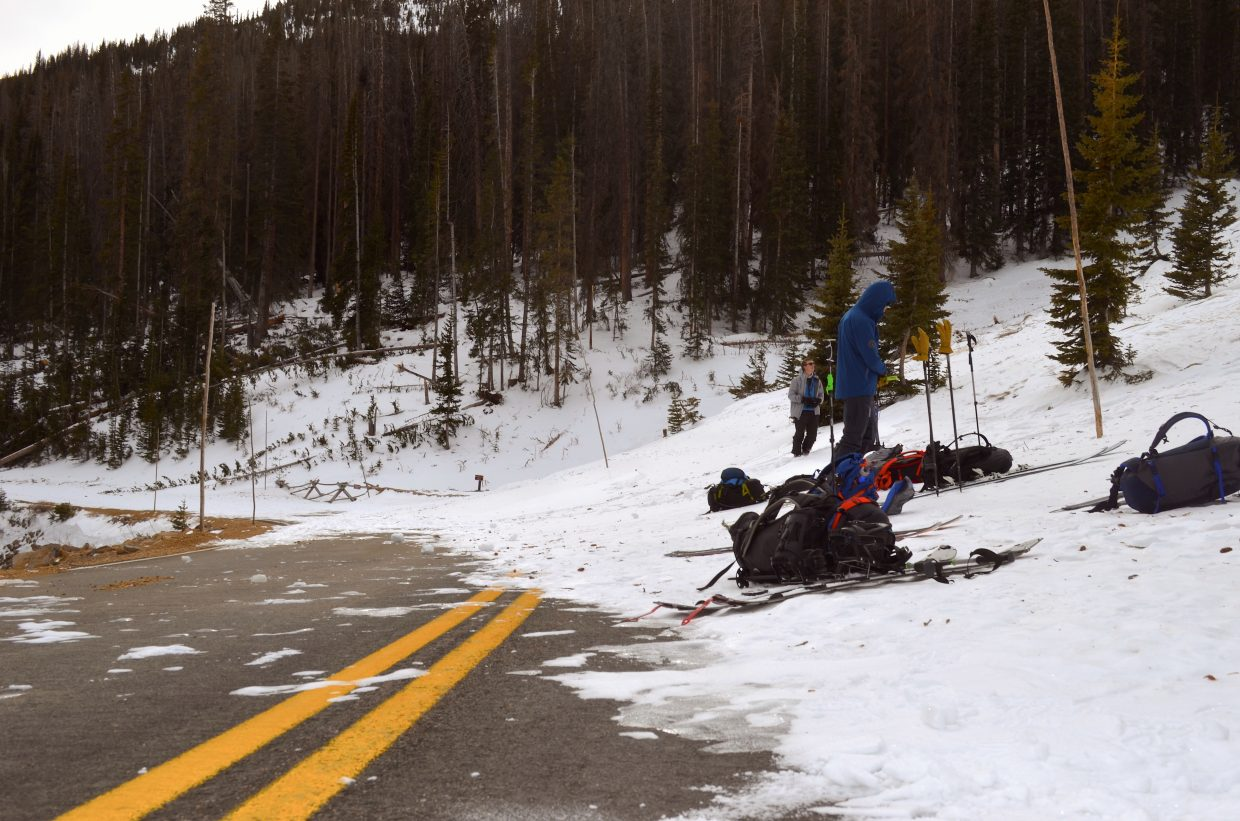 Most of Colorado Mountain School's avalanche rescue course work was conducted on a closed portion Trail Ridge Road high above Hidden Valley. The highway's centerline was visible in a small section exposed to direct sunlight.