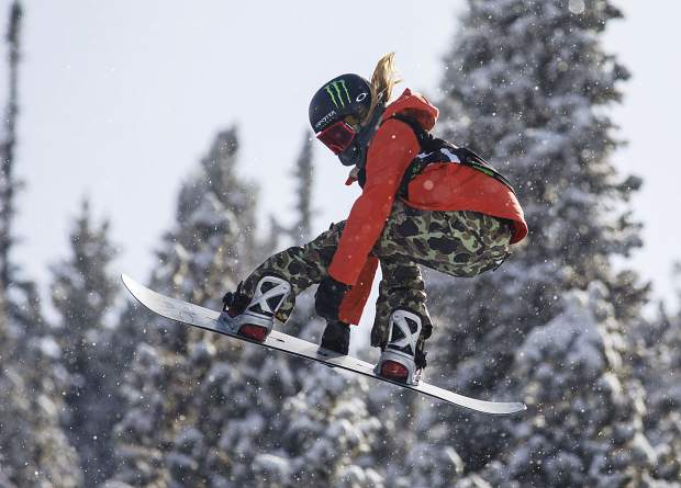 Chloe Kim of the United States competes in the superpipe qualifiers during the Dew Tour event Thursday, Dec. 14, at Breckenridge Ski Resort. Kim placed first in the qualifiers with a high score of 93.33.
