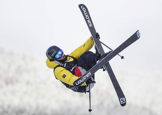 James Woods competes in the slopestyle qualifiers during the Dew Tour event Thursday, Dec. 14, at Breckenridge Ski Resort.