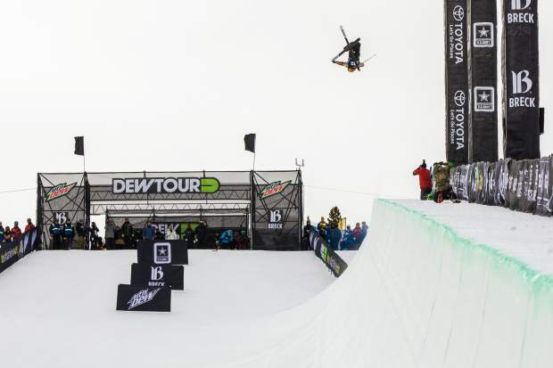 Devin Logan of United States competes in the superpipe qualifications during the first day of Dew Tour Wednesday, Dec. 13, at Breckenridge Ski Resort.