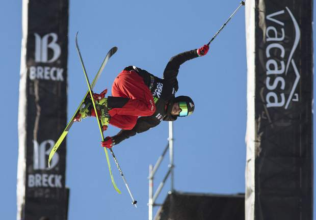Kevin Rolland of France competes in the pro ski superpipe finals during the Dew Tour event Friday, Dec. 15, at Breckenridge Ski Resort.