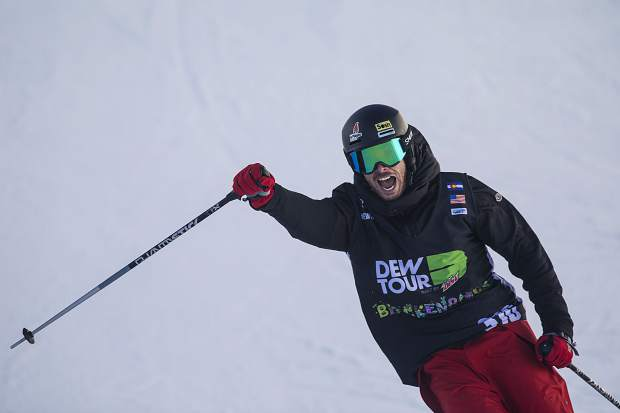 Kevin Rolland of France reacts following his last run in the pro ski superpipe finals during the Dew Tour event Friday, Dec. 15, at Breckenridge Ski Resort.