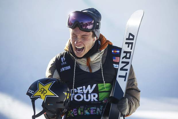 Alex Ferreira of United States reacts following his last run in the pro ski superpipe finals during the Dew Tour event Friday, Dec. 15, at Breckenridge Ski Resort. Ferreira took home first with a high score of 94.66.