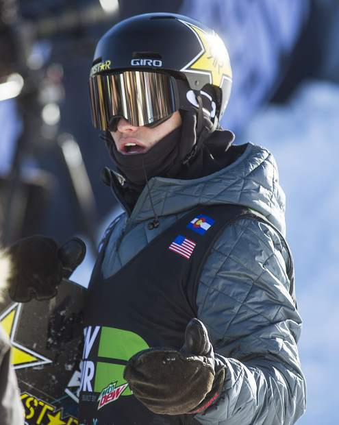 Eagle product Jake Pates of the United States reacts to his high score of 97.33 from the superpipe finals during the Dew Tour event Friday, Dec. 15, at Breckenridge Ski Resort. Pates took home first in the Dew Tour's snowboard superpipe finals.