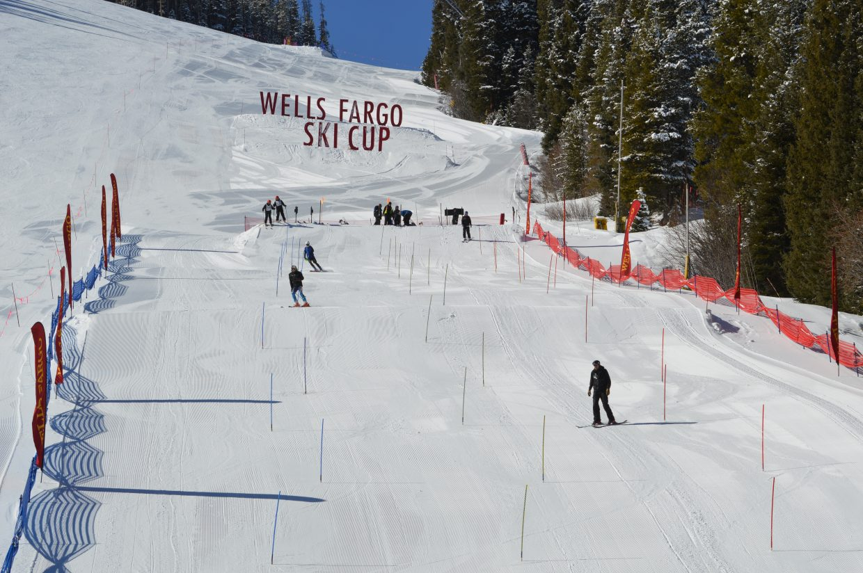 A look at the slalom course from the bottom of Hughes Trail on the Winter Park Territory.
