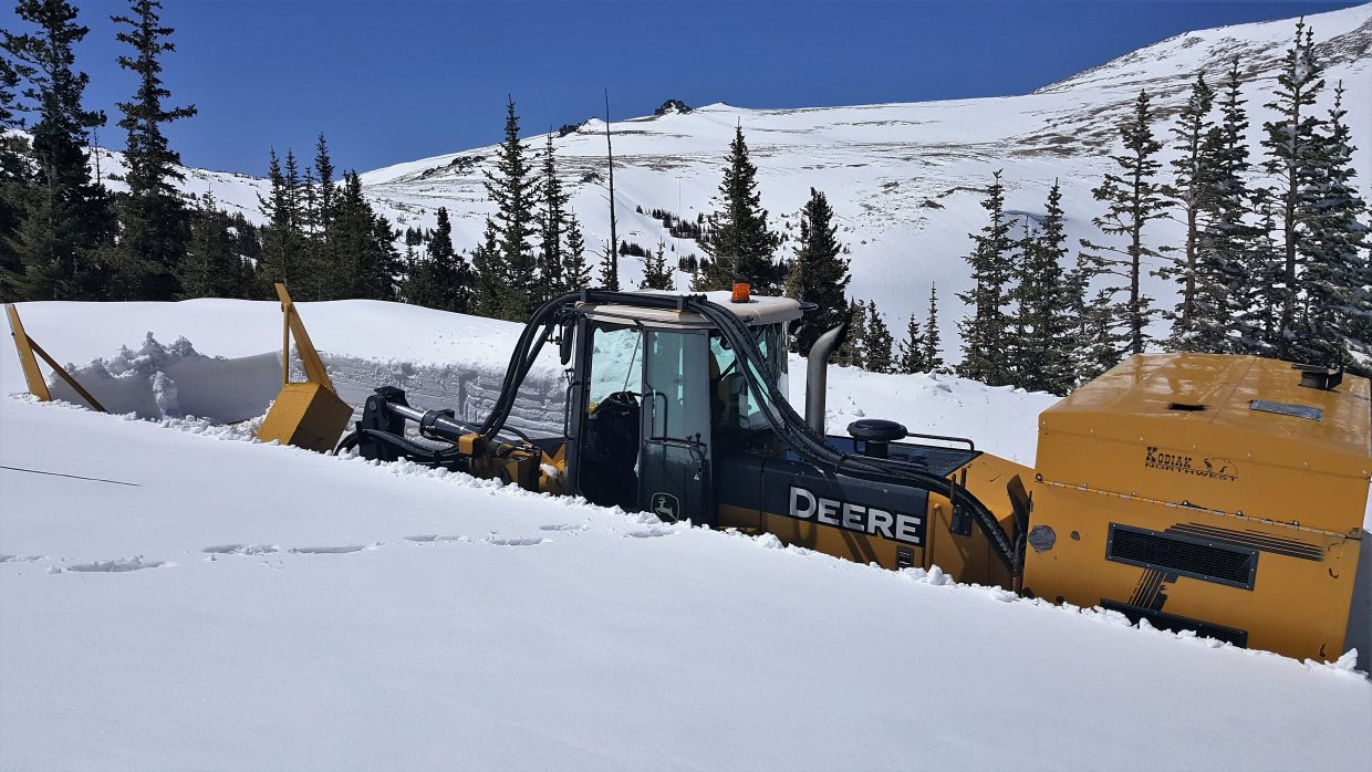 Snowplow clearing on Trail Ridge Road April 27 east side of park.