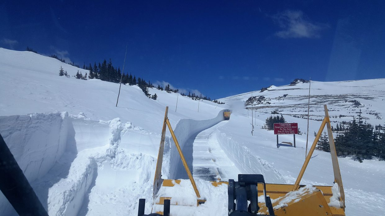 Trail Ridge Road snowclearing operations April 27 on east side.