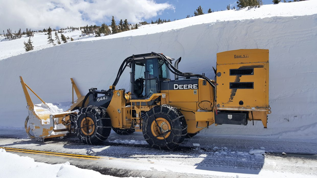 Snowplowing April 27 on Trail Ridge Road east side.