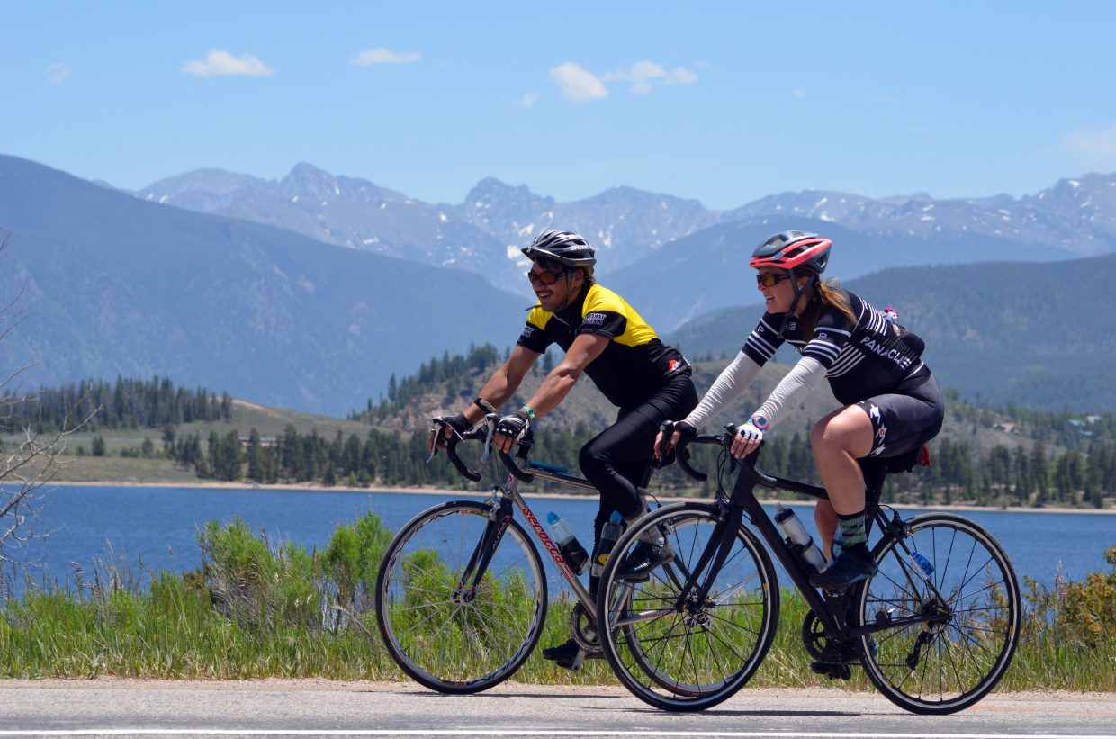 Ride the Rockies tourists enjoy the scenic vistas provided by the route through Grand County.