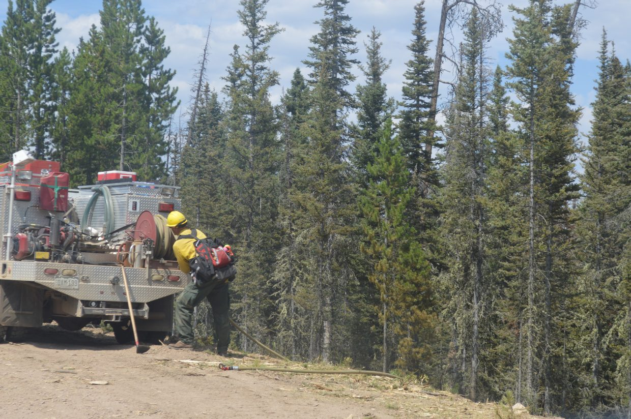 The Silver Creek Fire crews have focused on putting down hoselay in order to prevent any spread.