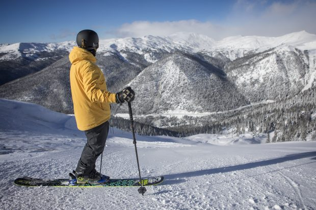 A skier stares down a run of fresh powder in The Beavers terrain expansion at Arapahoe Basin Ski Area. On Monday, A-Basin is scheduled to open lift-service in its newest terrain expansion.