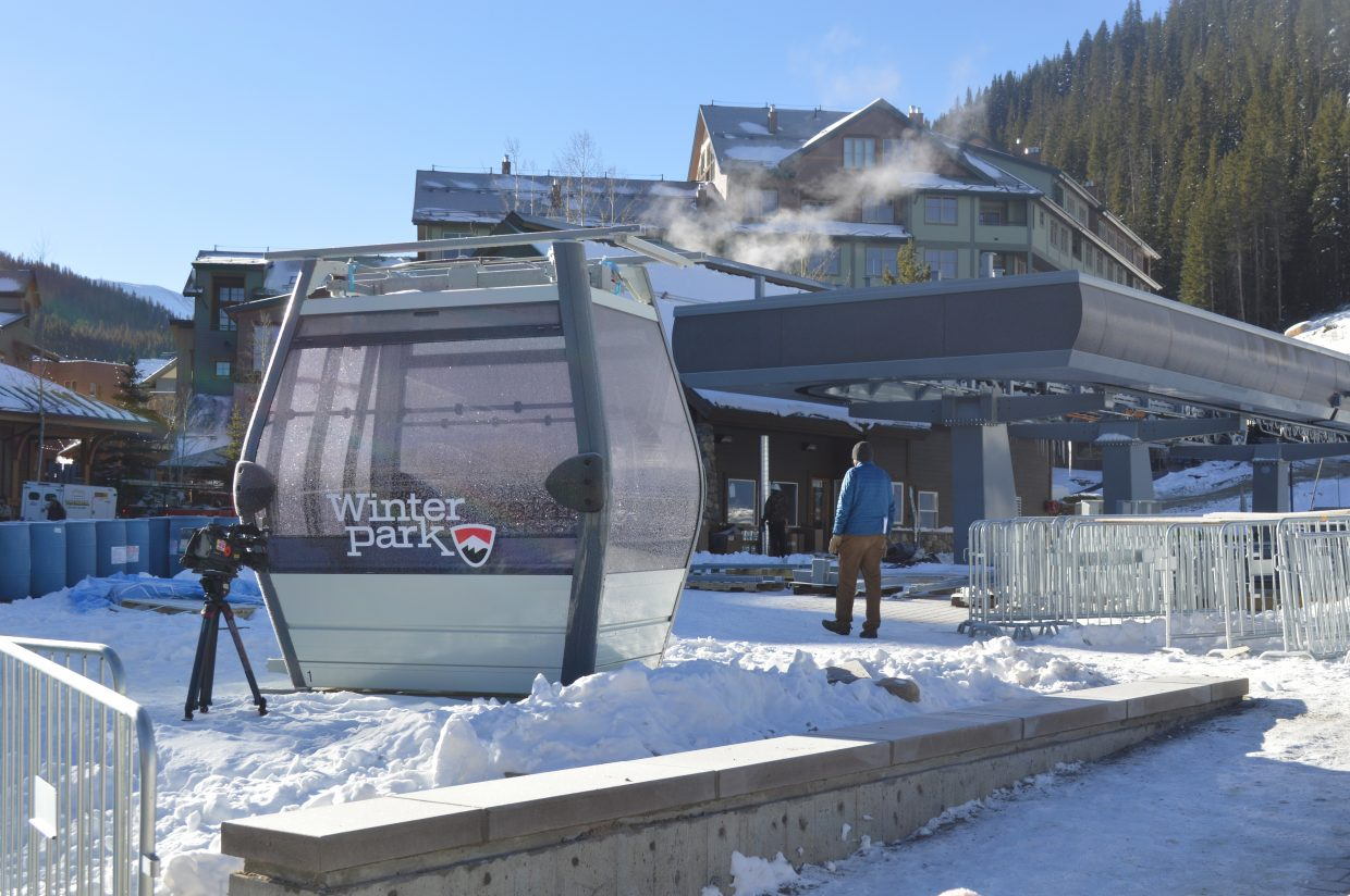 While the Gondola isn't yet operational for the season, the resort displayed a cabin in front of the Gondola terminal.