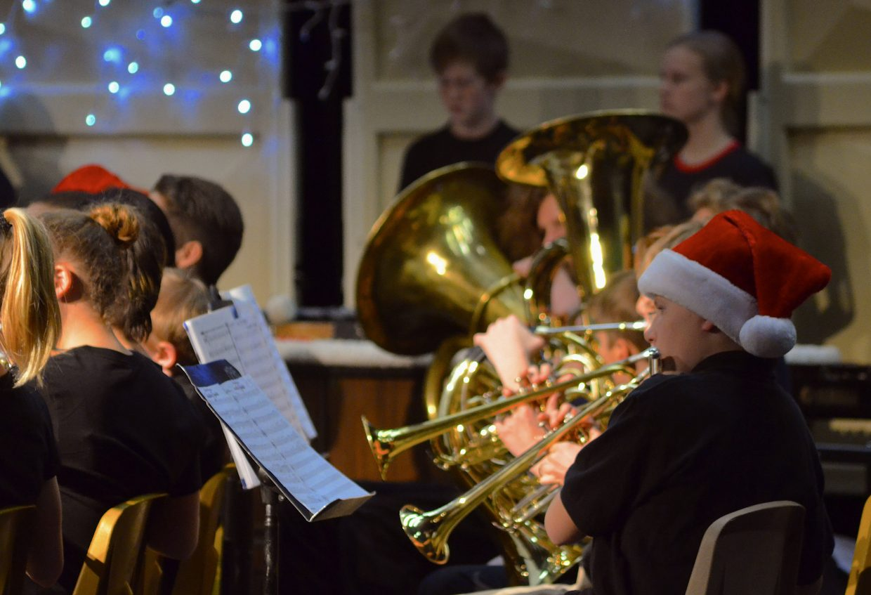 East Grand band students perform a rendition of the famous Christmas song Jingle Bells at the Wednesday night Holiday Band Concert at Middle Park High School.