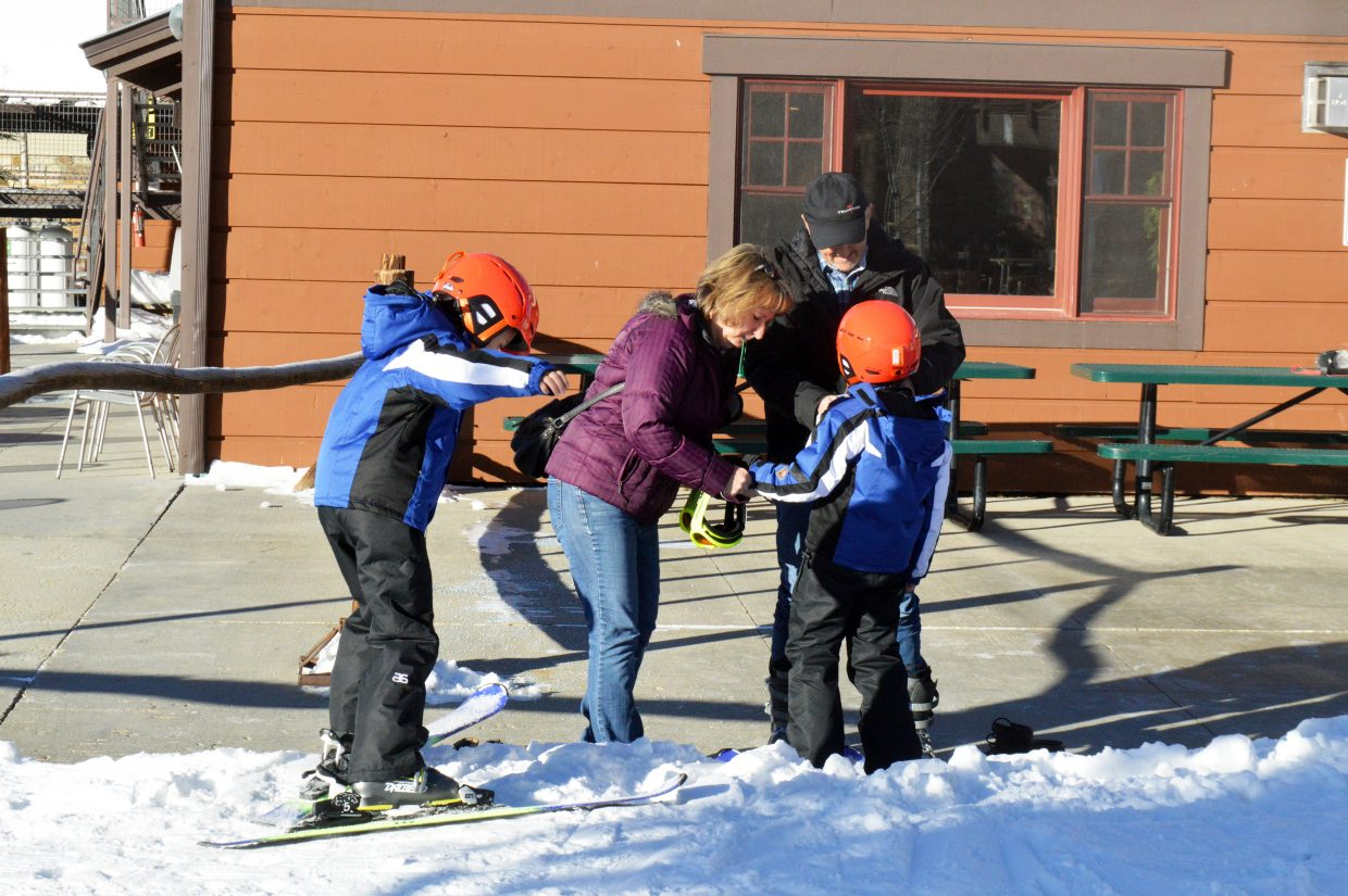 Getting gear ready to head up the mountain at Ski Granby Ranch.