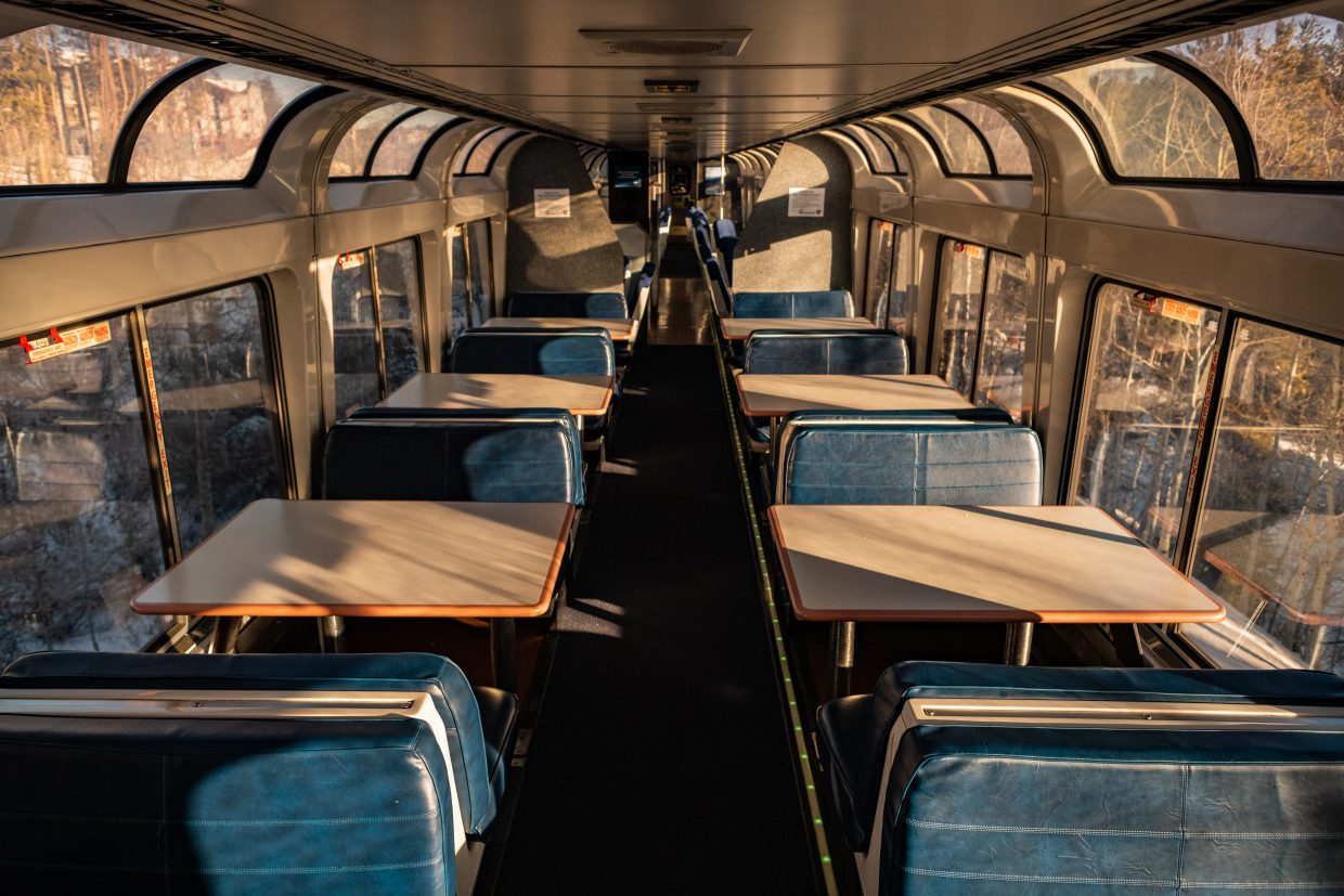 Large windows, and a roomy interior greet passengers in new Winter Park Express viewing car.