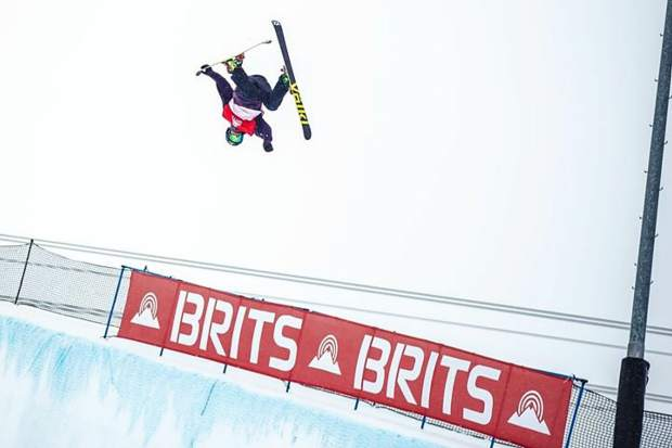 Sam Ward works on his half-pipe routine in Laax Switzerland during the spring of 2018.
