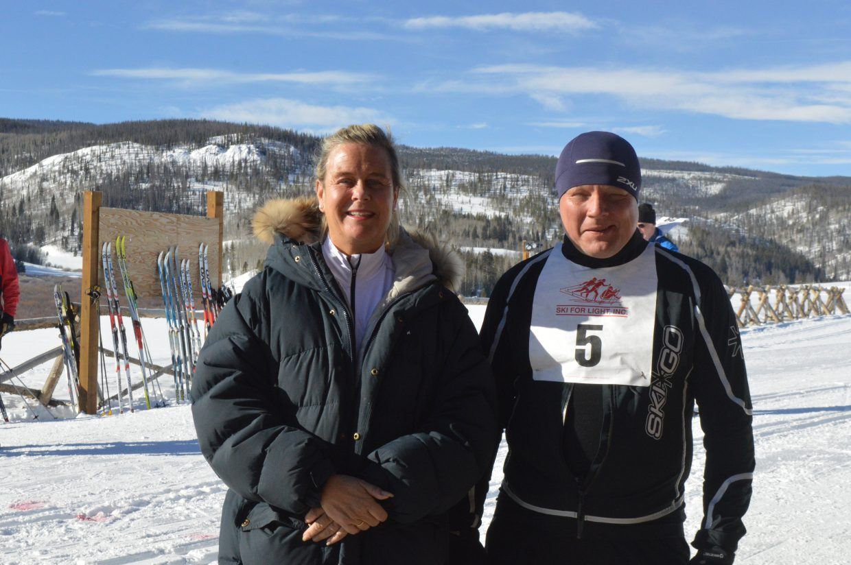 Heidi Lill (left), deputy chairman of the Ridderrennet, and Morten Tollefsen, Paralympian. It was Lill's first time at the Ski for Light event and she said she and Tollefsen had received a warm welcome and she enjoyed her time in Granby.