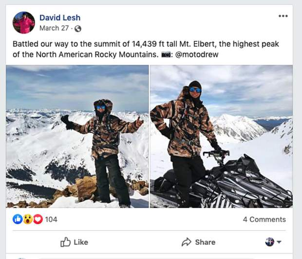 In a March post on Facebook, David Lesh post photos from Mount Elbert proclaiming to make it to the summit of the tallest 14,000-foot mountain in the Rocky Mountains. According to a San Isabel National Forest spokesperson, snowmobile travel is not allowed on the upper mountain.